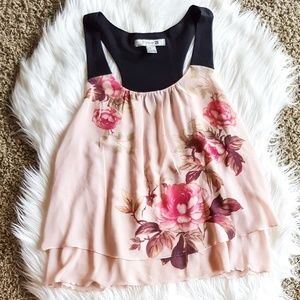 Forever 21 Pink and Black Floral Tank Top